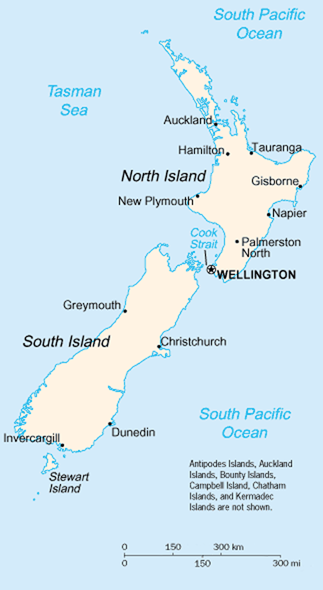 map of New Zealand. North Island. South Island